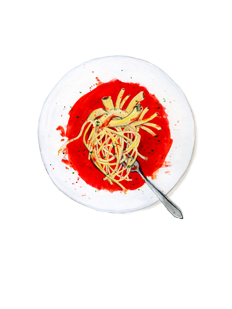 tram nguyen pasta heart illustration